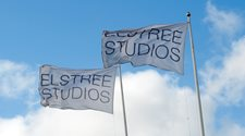 Flags outside Elstree Studios