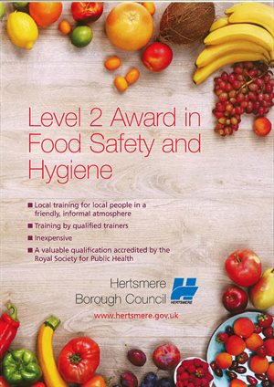 Front of leaflet for Level 2 Award in Food Safety and Hygiene with fruit boarder