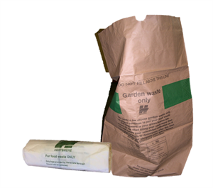 Roll of compostable bags and garden waste sack