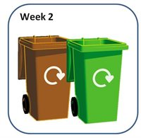Household recycling brown and green bins.
