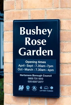 Rose Garden entrance sign