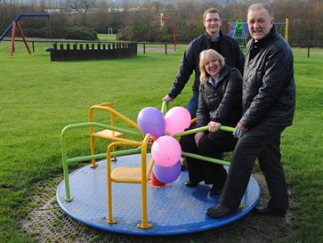 Paul Evans of CMS, Cllr Jean Heywood and Steve Burton, head of street scene services at Composers Park