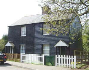 3 & 4 Church Farm Cottages, Church Lane, Aldenham (a pair of black-painted timber cottages)
