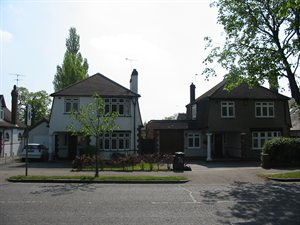Houses on Baker Street, part of The Royds Conservation Area in Potters Bar