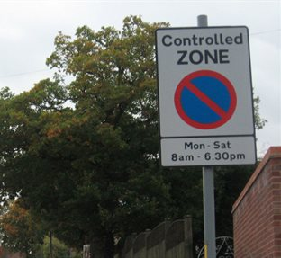 Control parking zone sign