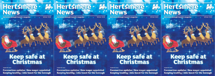 Editions of Hertsmere News lined up next to each other