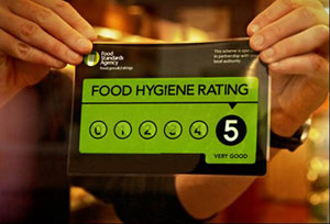Food hygiene rating sticker with a very good score of 5